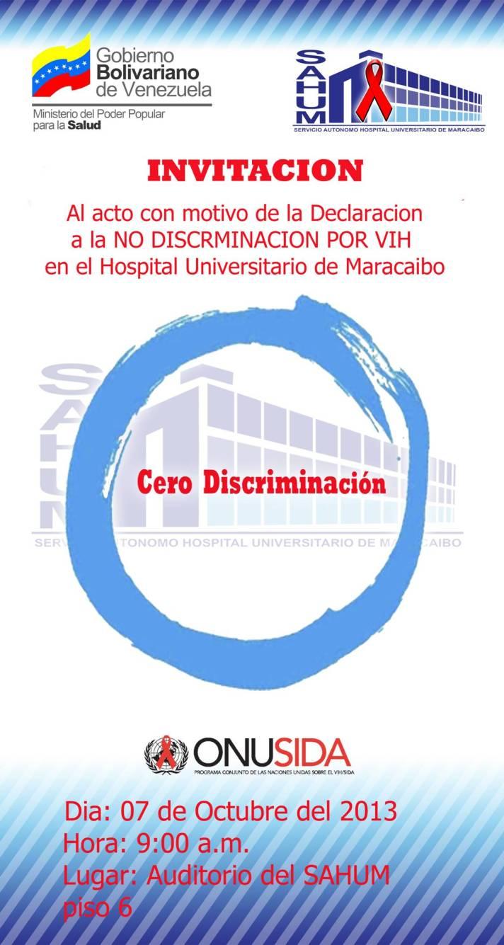 CERO DISCRIMINACIÓN: HOSPITAL UNIVERSITARIO DE MARACAIBO
